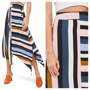 Topshop Multi Stripe Asymmetrical Midi Skirt Sz 6